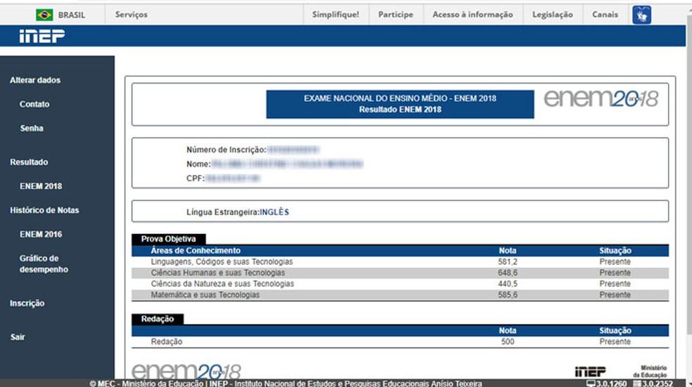 Confira as notas na página principal do participante — Foto: Reprodução/Tais Carvalho