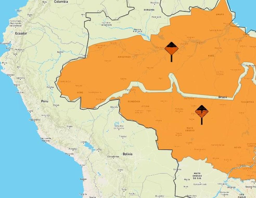 Alerta laranja foi matido pelo Inmet em cidades do Acre  — Foto: Reprodução