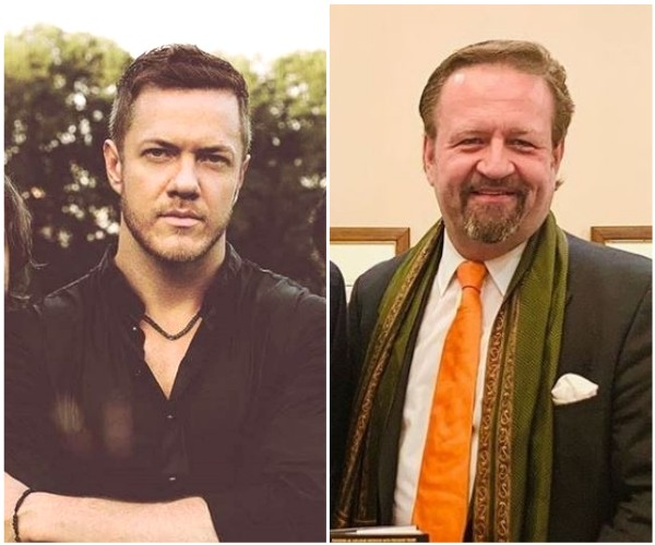Dan Reynolds, vocalista do Imagine Dragons, e Sebastian Gorka, ex-assistente de Donald Trump (Foto: Instagram)