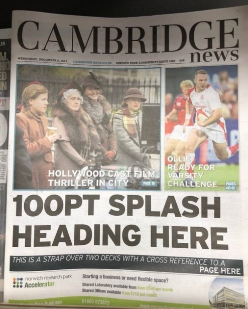 Capa do 'Cambridge News'