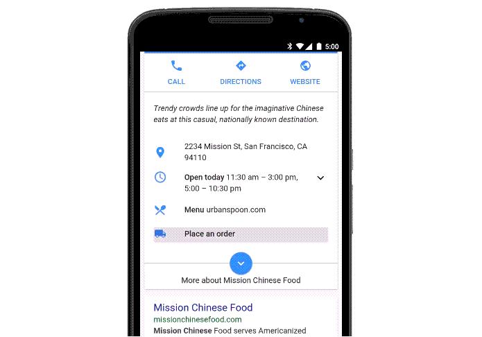 Pedido de comida agora pode ser feito direto no Google (Foto: Divulgação/Google)