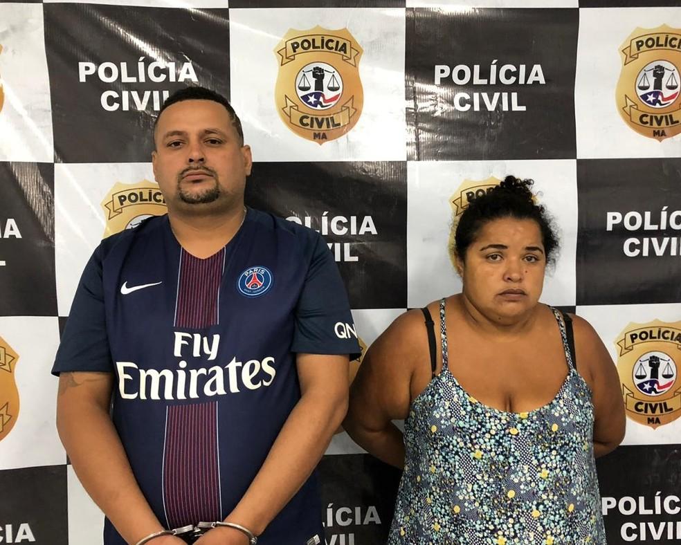 José Wilkson Frazão Pinheiro e Hielda Cristina Nunes Silva foram encaminhados ao Complexo Penitenciário de Pedrinhas em São Luís — Foto: Divulgação/Polícia