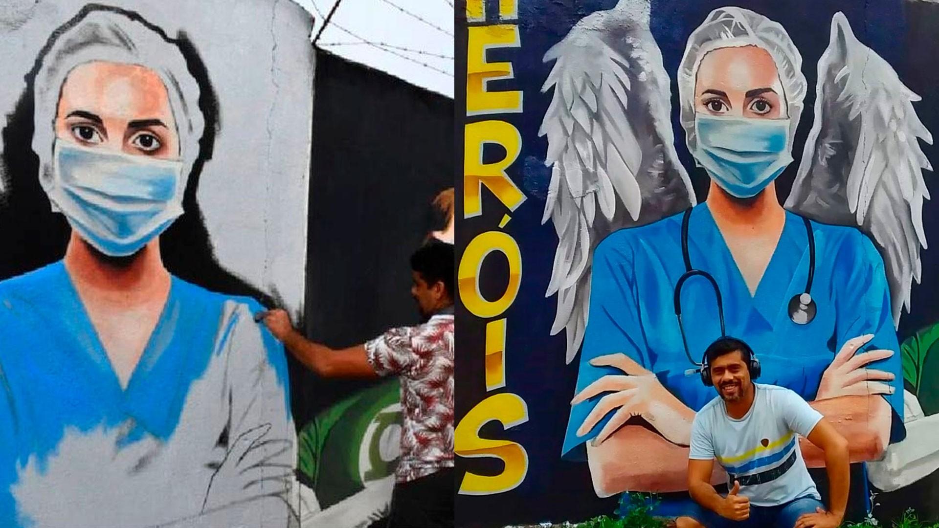 Artista faz mural em homenagem a profissionais da saúde que atuam contra a Covid-19 em Imperatriz