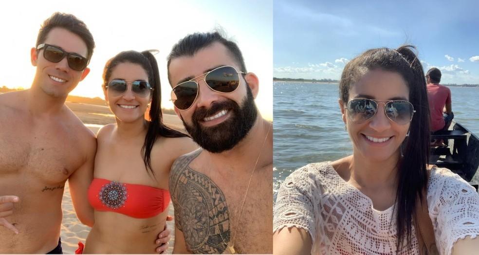 Daiana mora em São Paulo e ficou encantada com o calor, a natureza e culinária de Marabá. Na foto, ela e os amigos moradores da cidade, Ricardo Pio e Cleverson Amaro. — Foto: Daiana Calil/ Arquivo pessoal