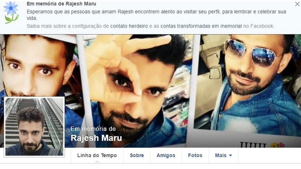 Perfil no Facebook em memória de Rajesh Maru  (Foto: Reprodução/Facebook/BBC)