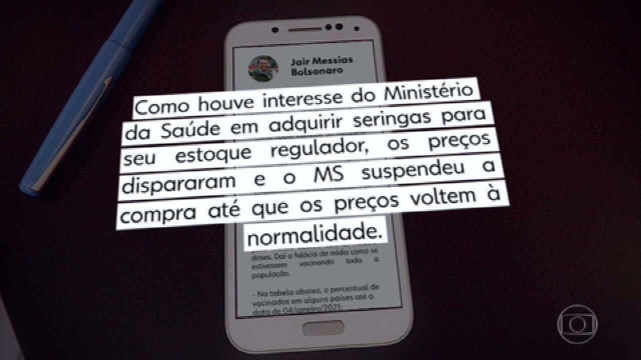 Bolsonaro diz em rede social que Ministério da Saúde suspendeu a compra de seringas