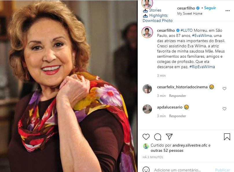 César Filho se despede de Eva Wilma (Foto: Reprodução Instagram)