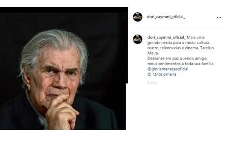 O músico Dori Caymmi compartilhou foto de Tarcisio Meira e deixou sua homenagem Reprodução