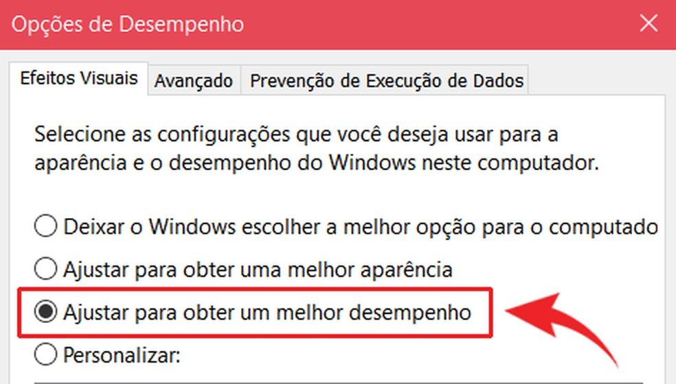 É possível ajustar a aparência do Windows para otimizar o desempenho — Foto: Reprodução/Ana Letícia Loubak