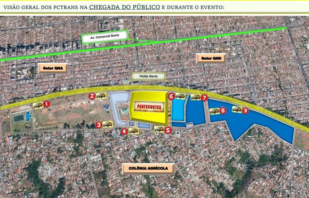 Taguatinga terá transito alterado para a festa de Pentecostes — Foto: Detran/Divulgação