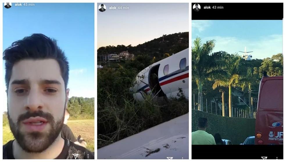 Em rede social, artista fez imagens dele e do avião, após areonave sair da pista ao decolar em Juiz de Fora (Foto: Reprodução/Alok/Instagram)