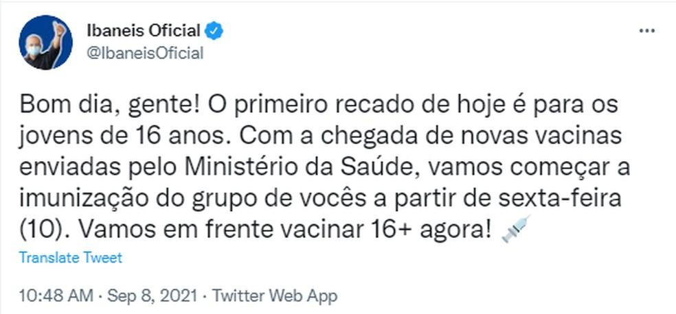 Nas redes sociais, Ibaneis anunciou vacinação contra Covid para jovens com 16 anos, no DF — Foto: Twitter/Reprodução