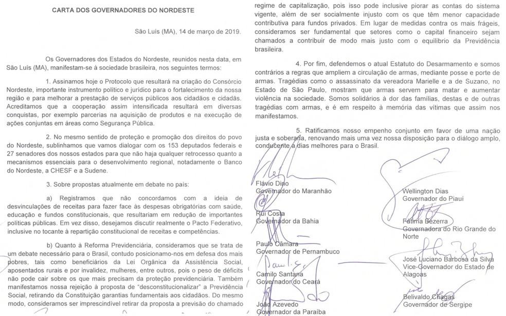 Carta à sociedade assinada pelos governadores do nordeste nesta quinta-feira (14) — Foto: Divulgação