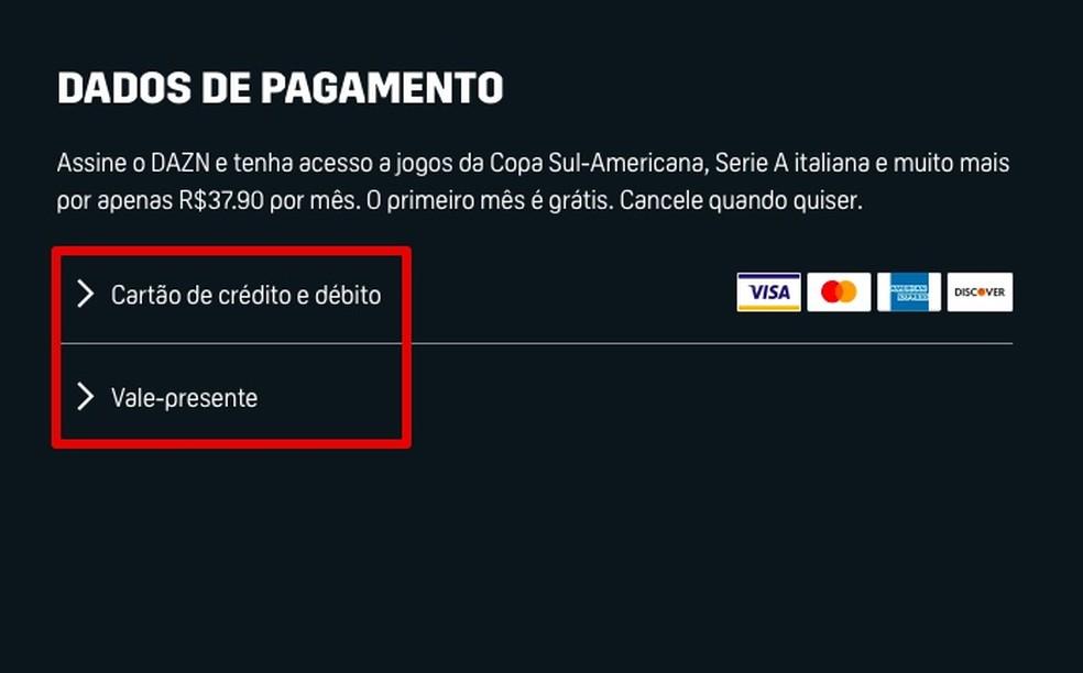 Forneça uma forma de pagamento no serviço da Dazn — Foto: Reprodução/Helito Beggiora