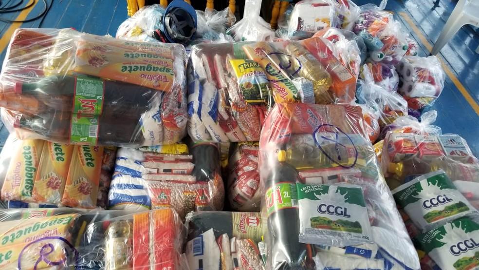 Cestas básicas que serão distribuídas a algumas comunidades do interior de Oriximiná — Foto: Ascom MRN/Divulgação