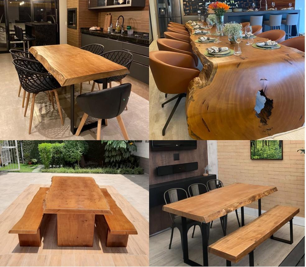 Mesas Madeirado que são destaques em todos os ambientes — Foto: Globo