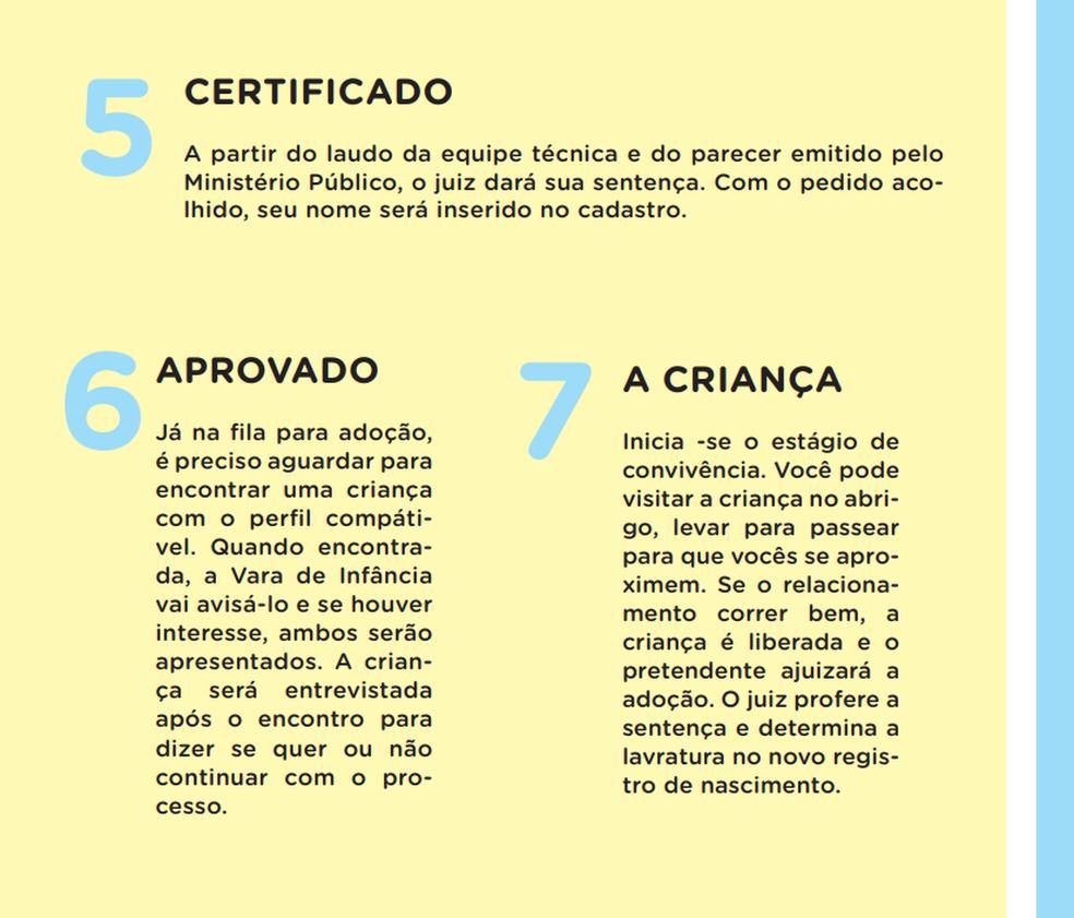 """Passo a passa da adoção no guia """"Três vivas para a adoção"""", escrito por Fabiana Gadelha e Patrícia Almeida (Foto: Três vivas para a adoção/Reprodução)"""