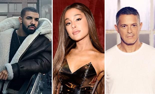Drake, Ariana Grande e Alejandro Sanz (Foto: Reprodução/Instagram/Getty Images)