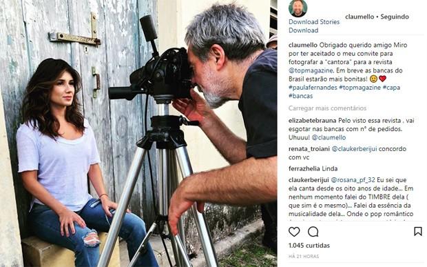 Cláudio Mello elogia a namorada, Paula Fernandes (Foto: Reprodução/Instagram)