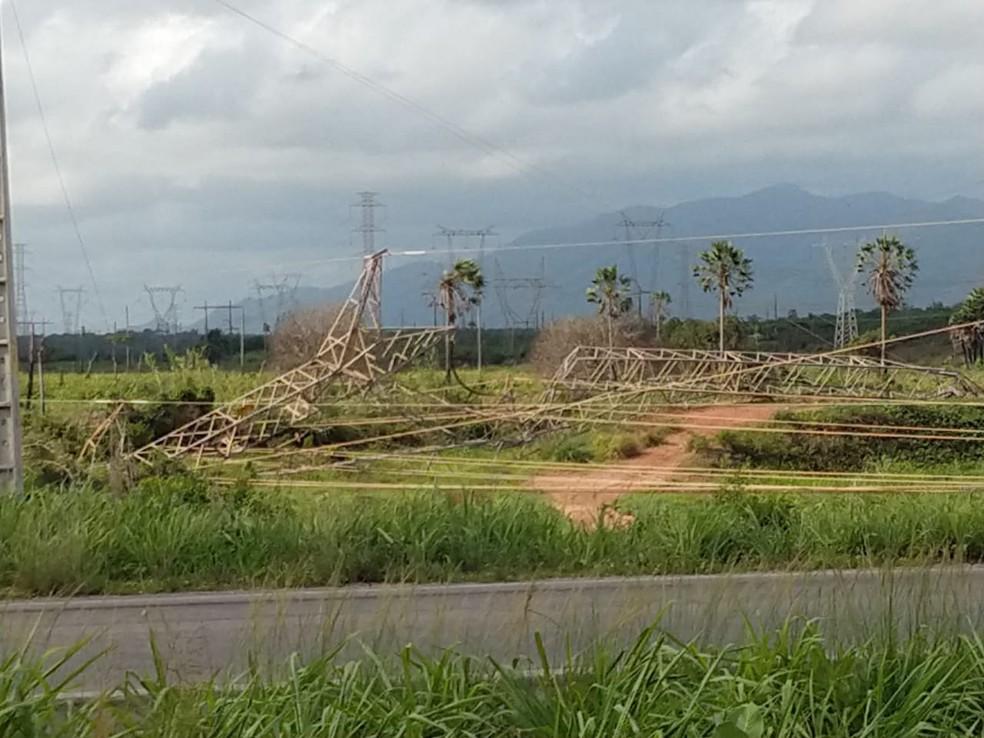 Torre de transmissão foi atacada na madrugada de sábado (12) — Foto: Halisson Ferreira/SVM