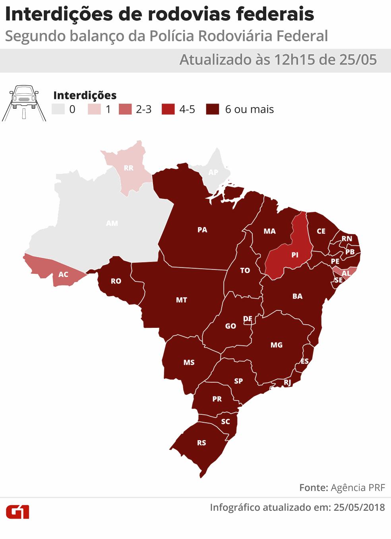 12h15: Mapa dos estados que têm rodovias com interdições por causa do protesto dos caminhoneiros (Foto: Karina Almeida e Juliane Souza/G1)