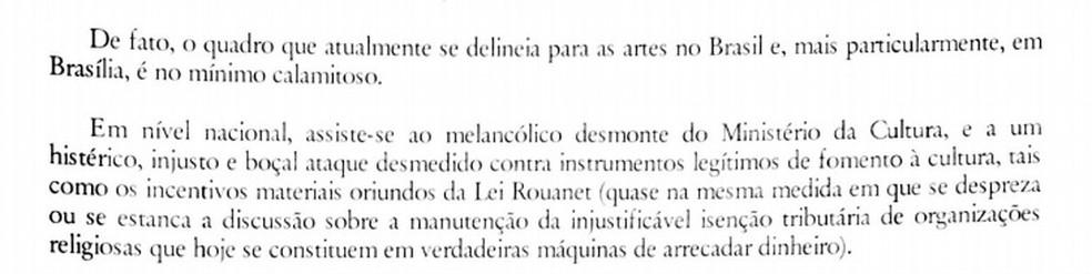 Juiz do DF diz que Ministério da Cultura enfrenta 'desmonte' (Foto: Reprodução)