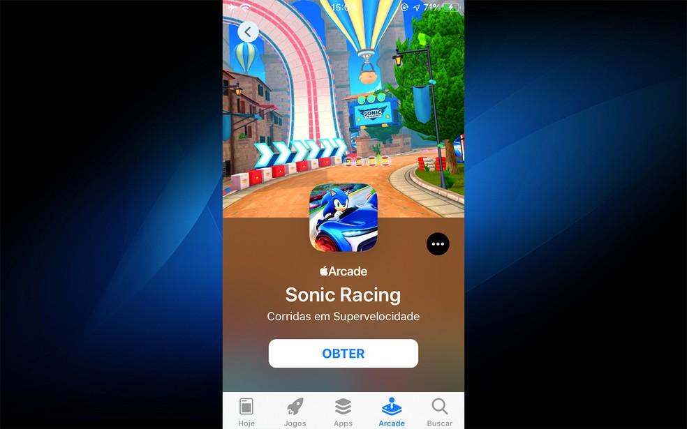 Sonic é um dos jogos no Apple Arcade — Foto: Reprodução/Felipe Vinha