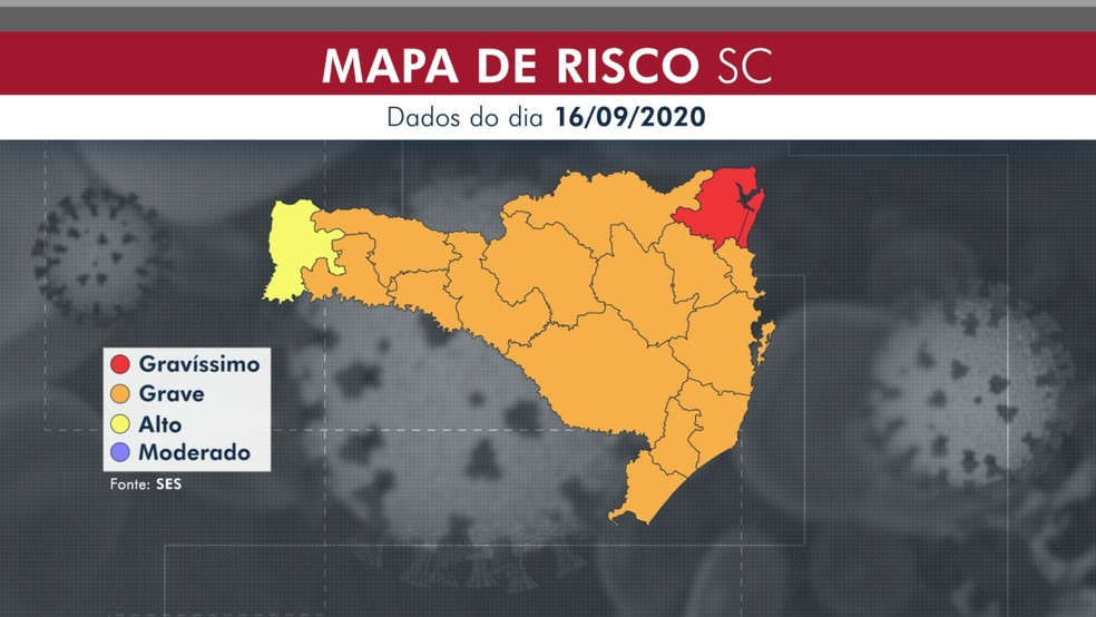 Mapa de risco de SC em 16 de setembro tem uma das 16 regiões de saúde em situação gravíssima por causa da Covid-19 — Foto: Arte NSC TV/Reprodução