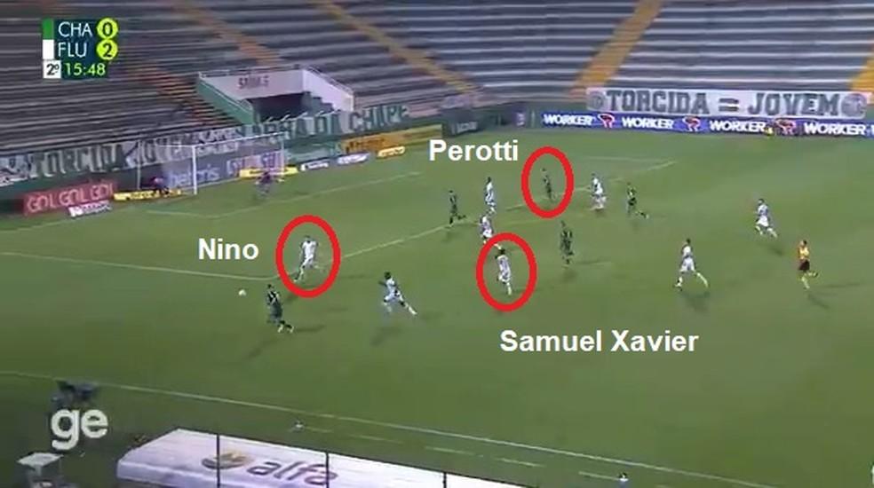 Nino saiu da área para cobrir Samuel Xavier no lance do gol de Perotti — Foto: ge