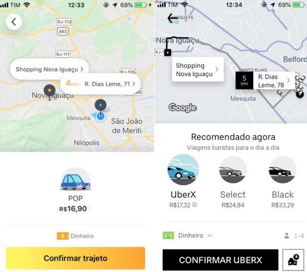 Comparativo de preço entre o Uber e o 99POP — Foto: Reprodução/Julia Marques