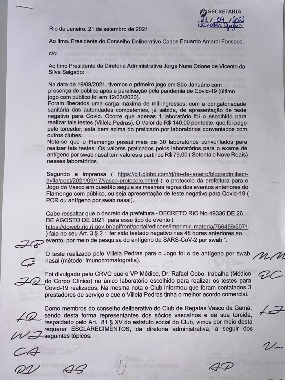Carta de conselheiros do Vasco sobre contratação de laboratório - Parte 1 — Foto: Reprodução