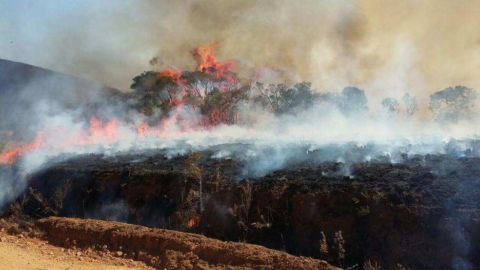 Incêndio já consumiu 3,5 mil hectares na Serra do Papagaio, no Sul de MG (Foto: Divulgação / Parque Estadual Serra Papagaio)