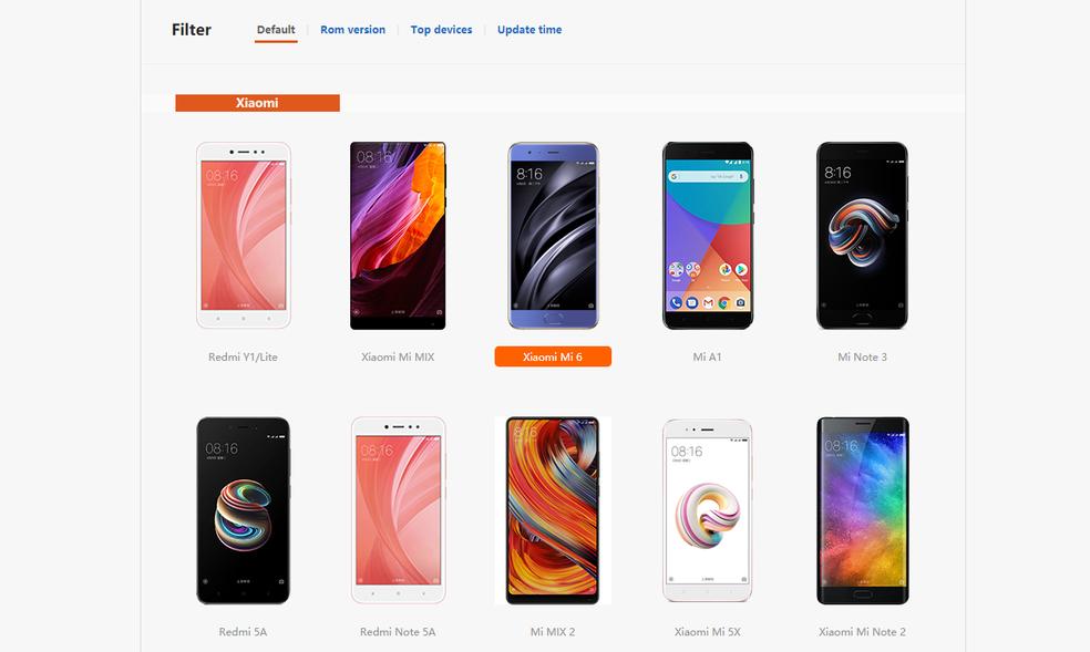 Selecione o modelo do seu smartphone da Xiaomi (Foto: Reprodução/Thiago Rocha)