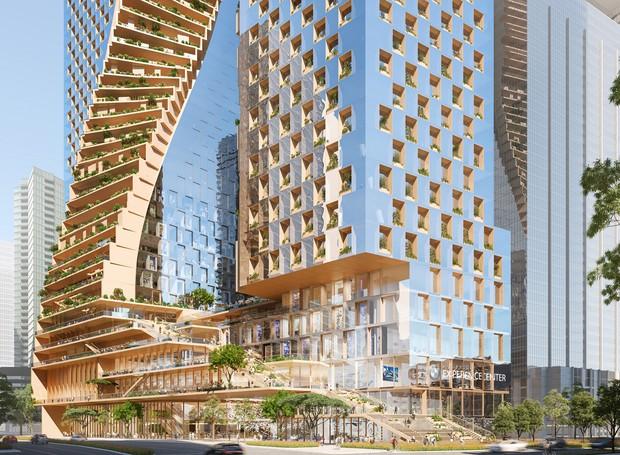 Uma torre do arranha céu é dedicada à parte residencial, enquanto a outra servirá para a construção de escritórios e um hotel (Foto: UNStudio e Cox Architecture/ Reprodução)