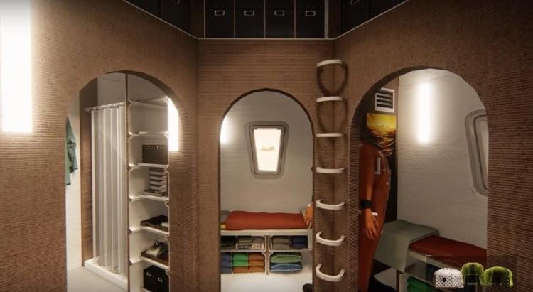 Design da equipe Zopherus inclui quatro quartos com guarda-roupas (Foto: Divulgação/Nasa)