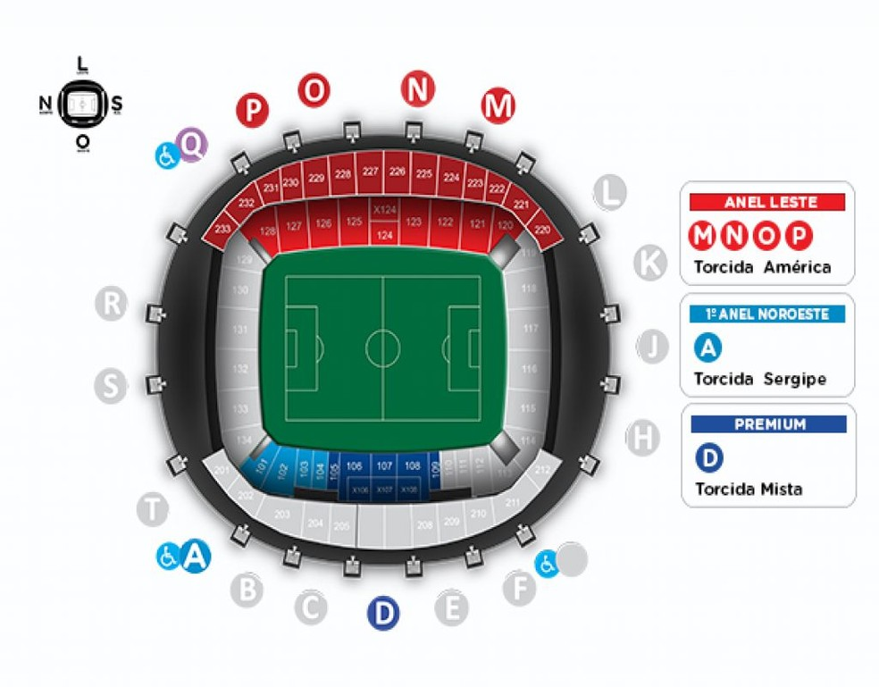 Mapa de ingressos de América-RN x Sergipe, na Arena das Dunas (Foto: Reprodução)