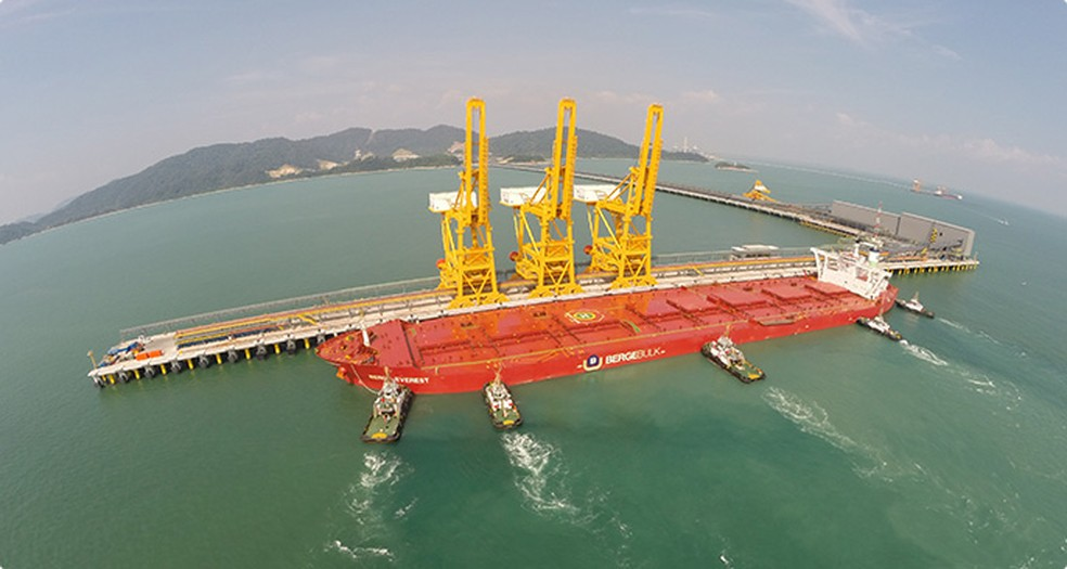 Terminal marítimo da Vale e centro de distribuição Teluk Rubiah, na Malásia — Foto: Divulgação/Vale