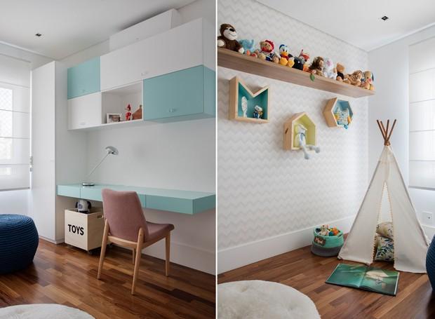 O mesmo ambiente tem duas funções: é brinquedoteca para o pequeno morador e escritório para os adultos da casa (Foto: Denilson Machado/MCA Estúdio/Divulgação)