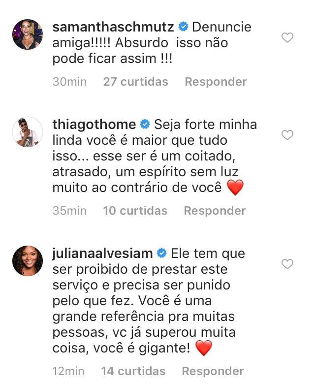 Famosos apoiam Nathalia Santos (Foto: Instagram/Reprodução)