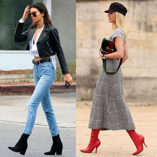 Kendall Jenner e outras fashionistas já adotaram o visual com o calçado (Foto: Reprodução / Pinterest)