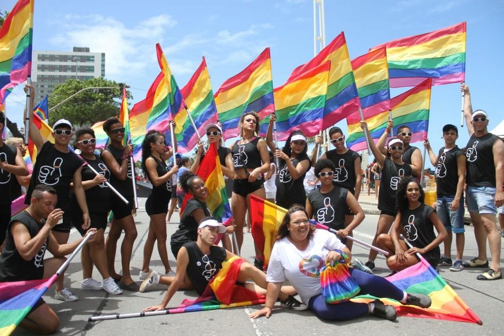 Bandeiras coloriram a orla de Boa Viagem, na Zona Sul do recife, durante a parada da Diversidade, neste domingo (17) (Foto: Marlon Costa/ Pernambuco Press)