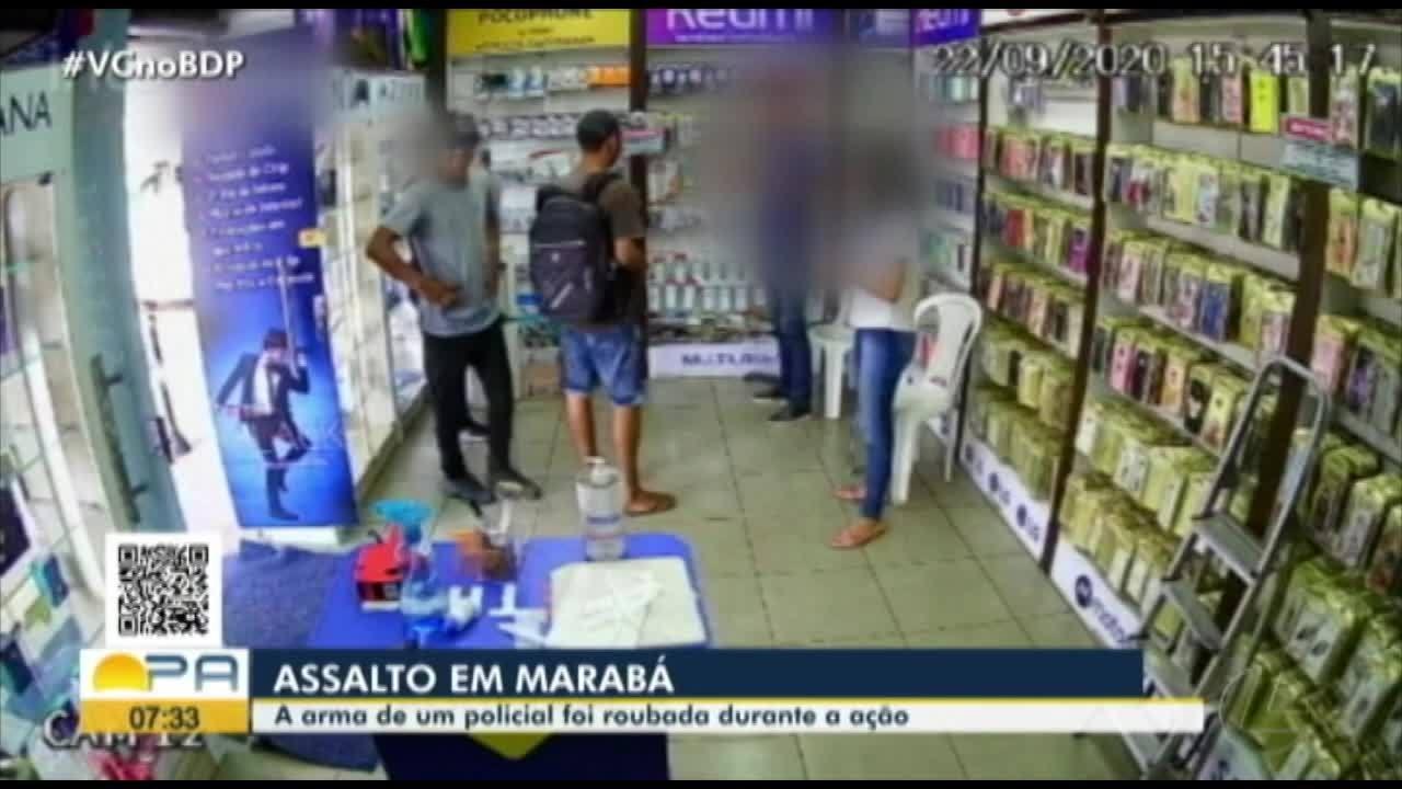 Arma de policial e celulares são roubados em assalto à loja em Marabá