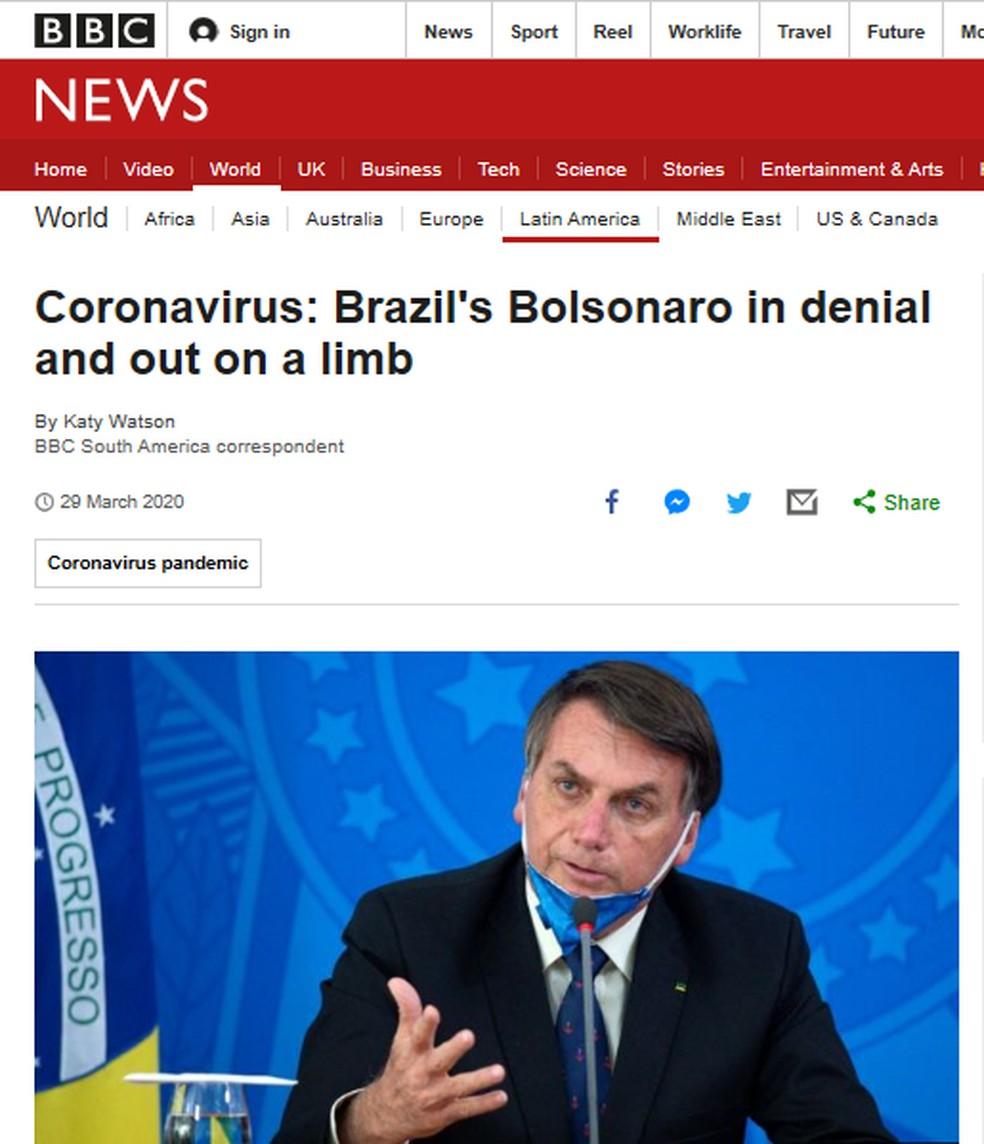 Reportagem da BBC diz que Bolsonaro está 'em negação' — Foto: Reprodução/BBC