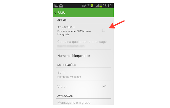 Desativando o gerenciamento de mensagens SMS do Hangouts no Android (Foto: Reprodução/Marvin Costa)