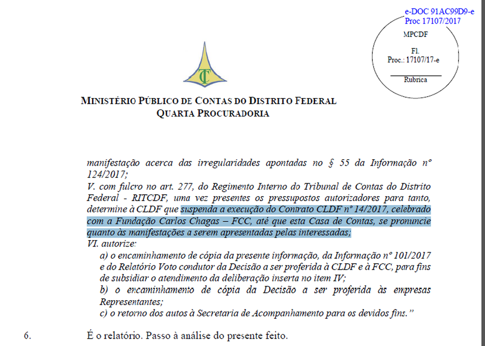 Trecho do parecer que recomenda suspensão do concurso da CLDF (Foto: Reprodução)