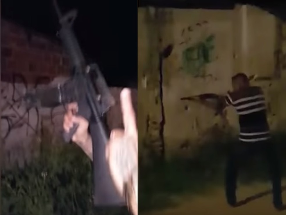 Criminosos fizeram vídeos exibindo armas e disparando tiros nas ruas de Caucaia — Foto: Reprodução