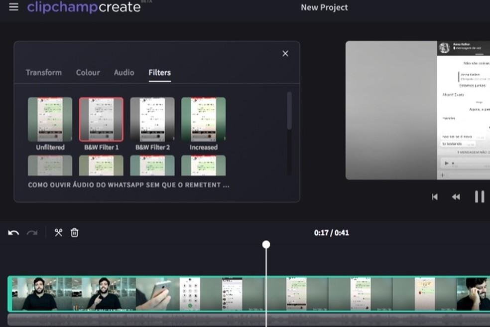 Tela de filtros do serviço online para edição de vídeo Clipchamp — Foto: Reprodução/Marvin Costa