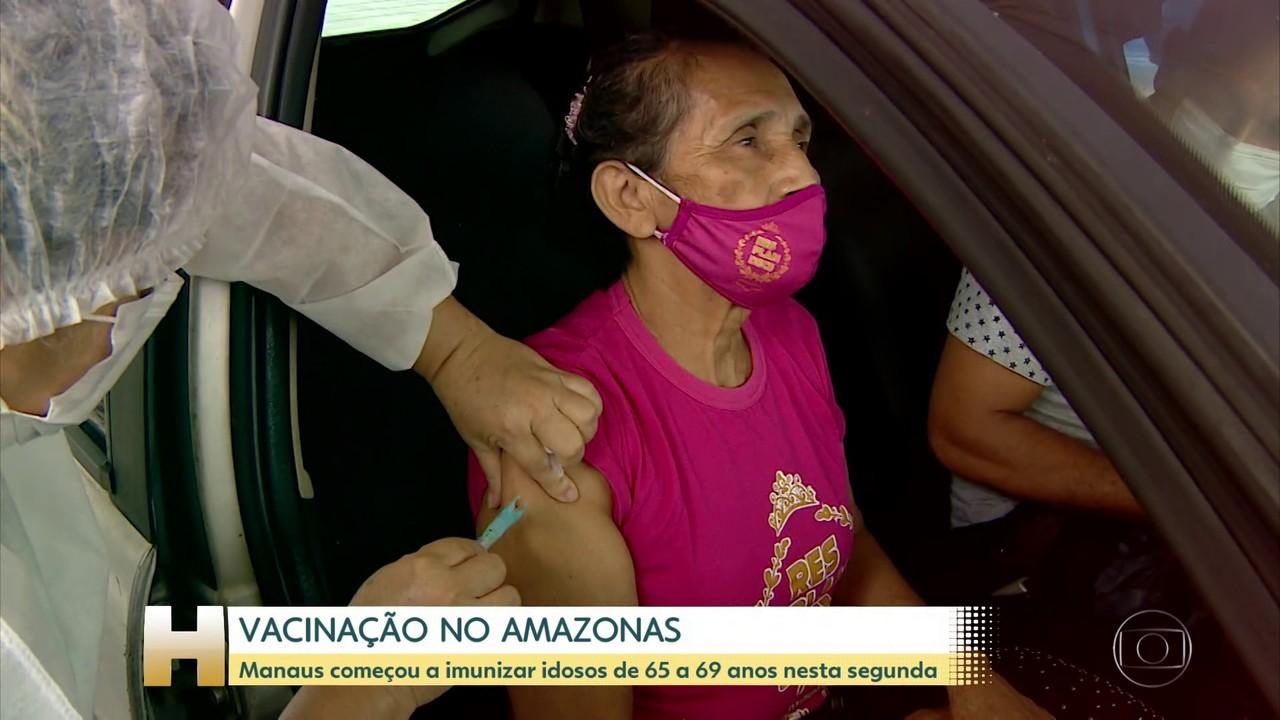 Manaus começou hoje a vacinar idosos entre 65 e 69 anos