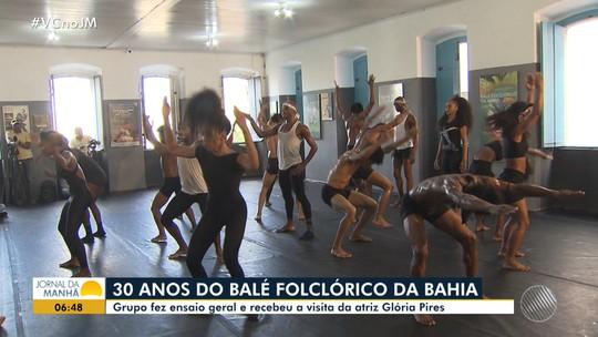 Trinta anos de arte: Balé Folclórico recebe visita de Glória Pires durante ensaio geral