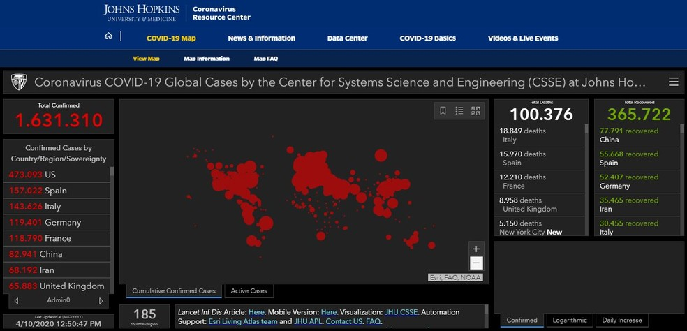 Universidade Johns Hopkins monitora casos e mortes por Covid-19 no mundo: mortes passaram de 100 mil — Foto: Reprodução/Johns Hopkins